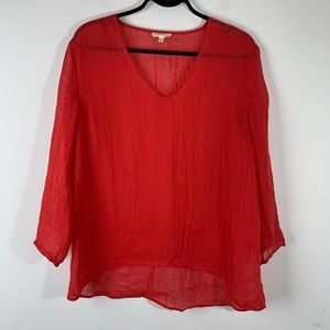 Eileen Fisher 100% Linen Red Long Sleeve Blouse S